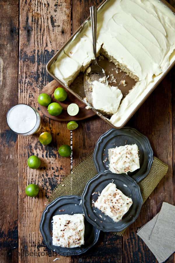 Coconut Cake with Pale Ale Lime Cream Cheese Frosting