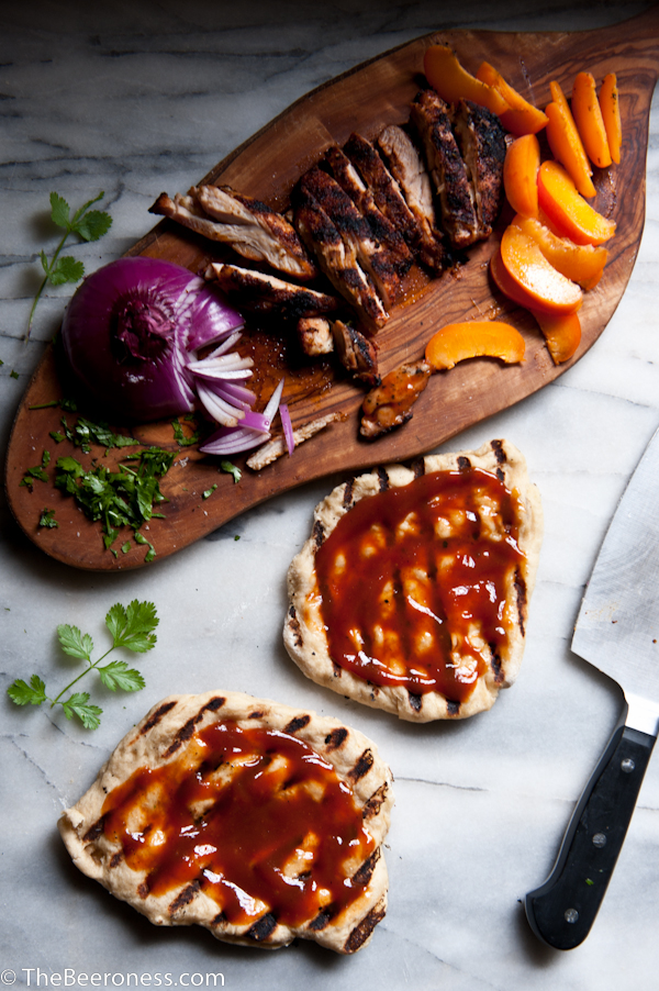 Grilled BBQ Beer Chicken and Apricot Flatbreads 4