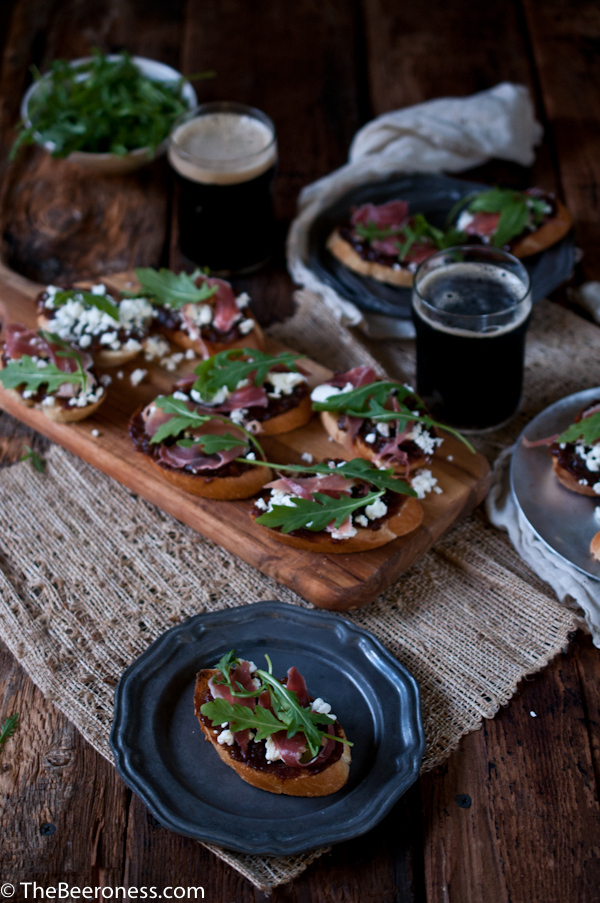 Porter Date Jam Crostini with Prosciutto, Arugula and Goat Cheese 2