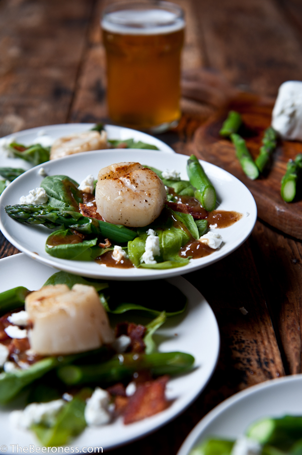 Beer Brined Scallops over Spinach Salad With Bacon Stout Vinaigrette_