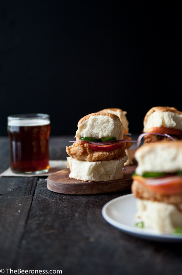Fried Beer Chicken Sliders with Beer Pickled Peaches & Jalapenos 2