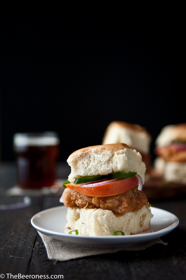 Fried Beer Chicken Sliders with Beer Pickled Peaches & Jalapenos