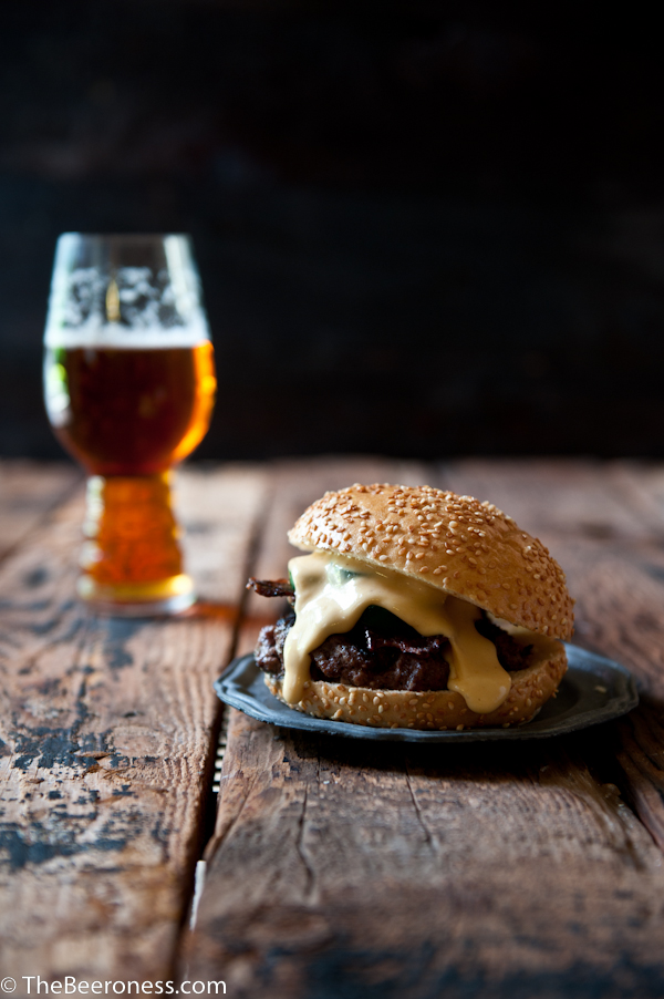 Jalapeno Beer Cheese Burger with Beer Candied Bacon | The Beeroness