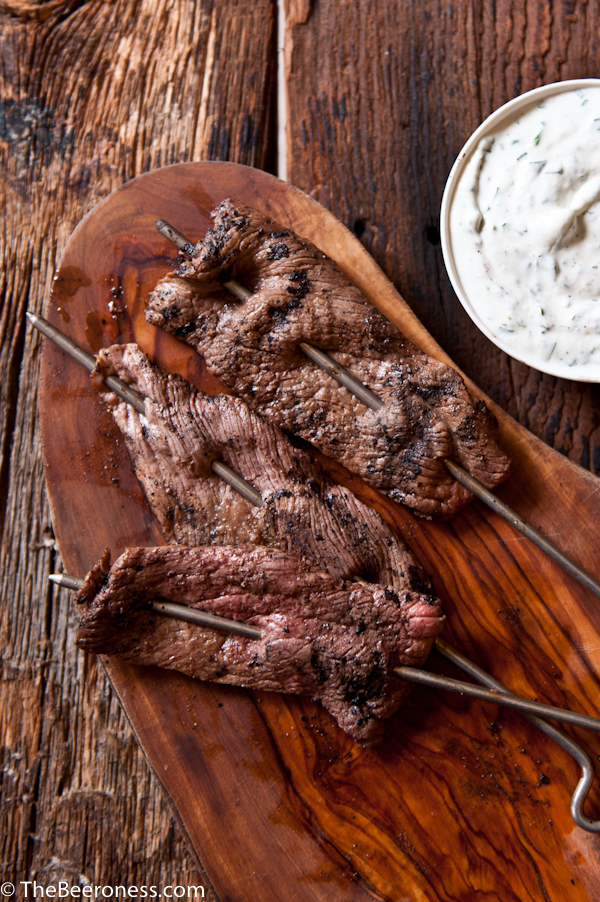Porter Marinated Steak Skewers with Cilantro Horseradish Cream5