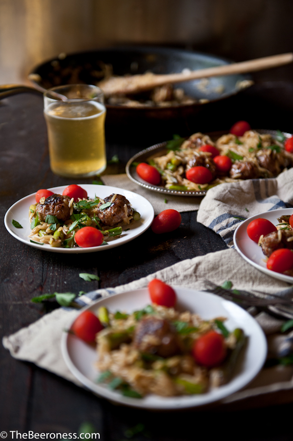 Twenty minute dinner: Asparagus and Sausage Meatball Orzo with Parmesan Beer Cream Sauce