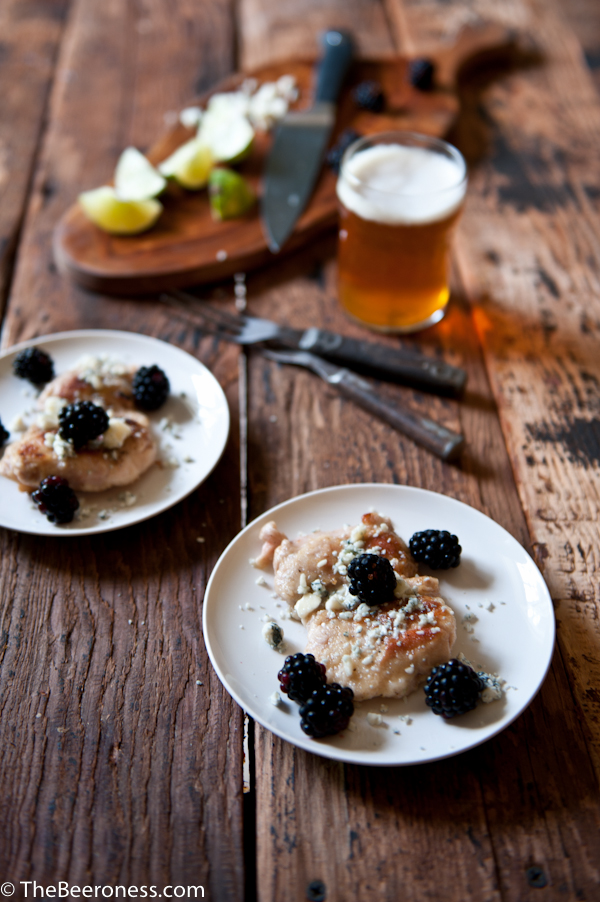 Beer Brined Pepper Lime Chicken with Gorgonzola and Blackberries 3