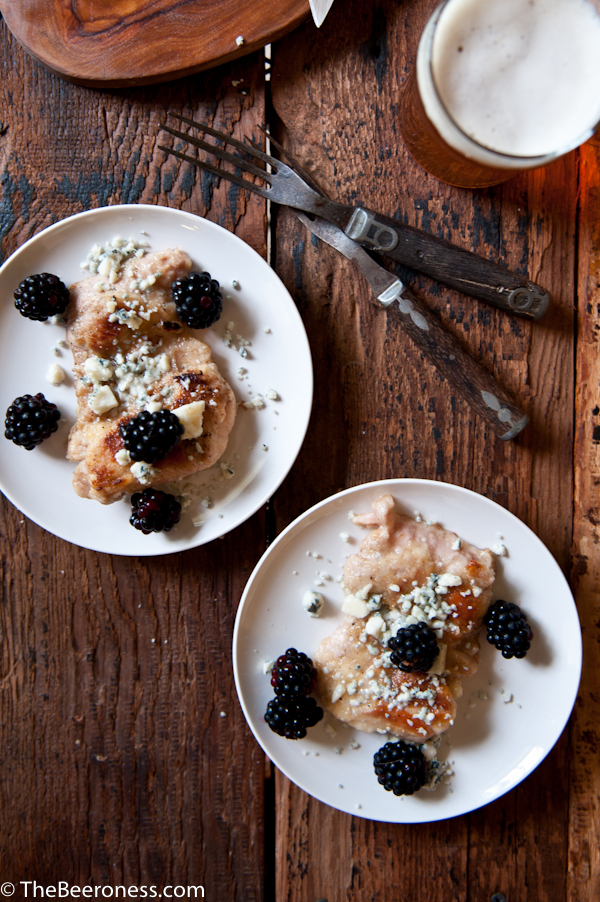 Beer Brined Pepper Lime Chicken with Gorgonzola and Blackberries 4