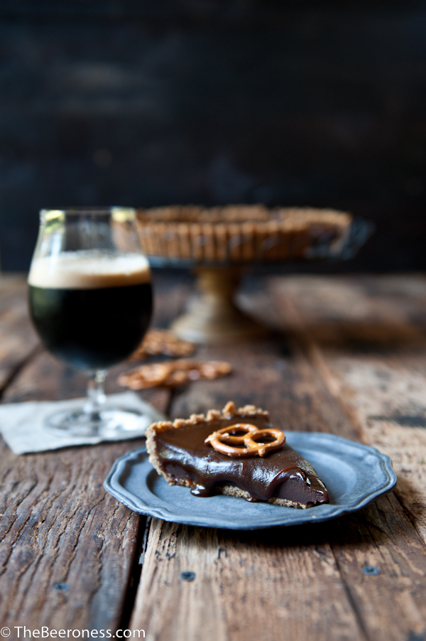 Chocolate Stout Caramel Tart with Pretzel Crust