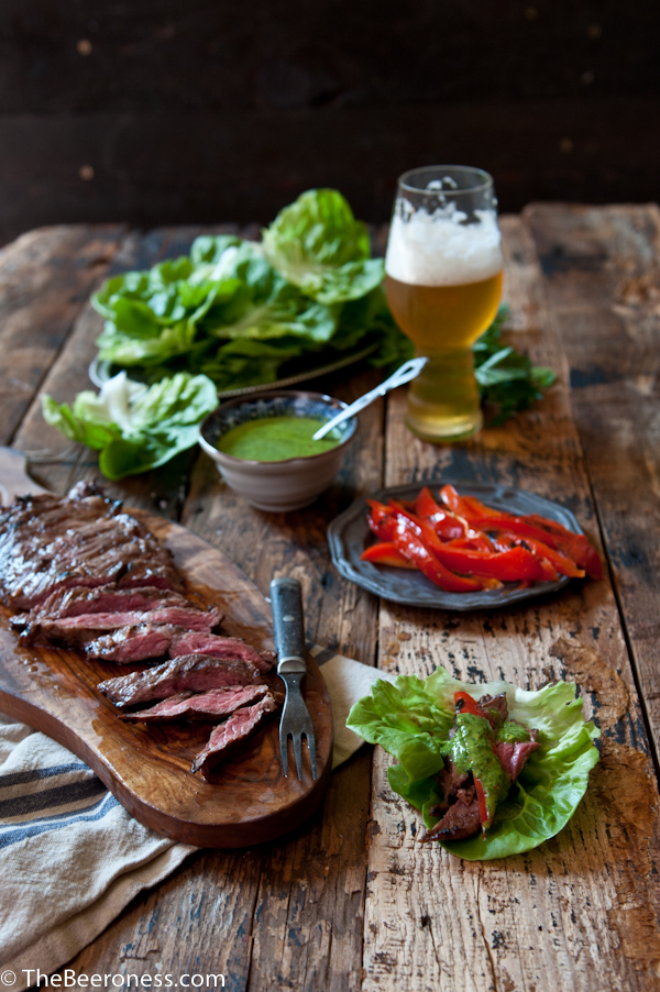 Porter Marinated Flank Steak Lettuce Wraps with IPA Chimichuri 2