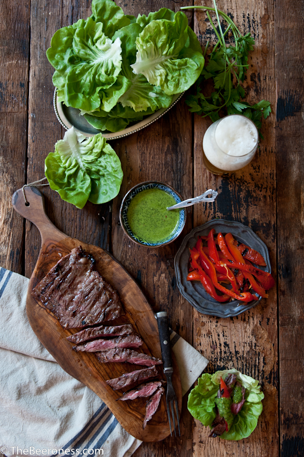 Porter Marinated Flank Steak Lettuce Wraps with IPA Chimichuri_