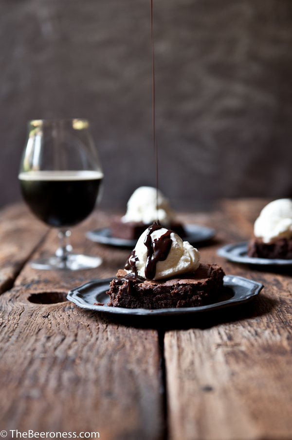 Pumpkin Porter Beer Brownies Sundaes