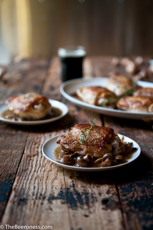 Honey Mustard Mushroom Stout Chicken: 30 minute, one pot chicken dinner.