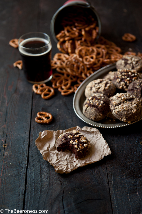Pretzel Crusted Chocolate Beer Fudge Cookies