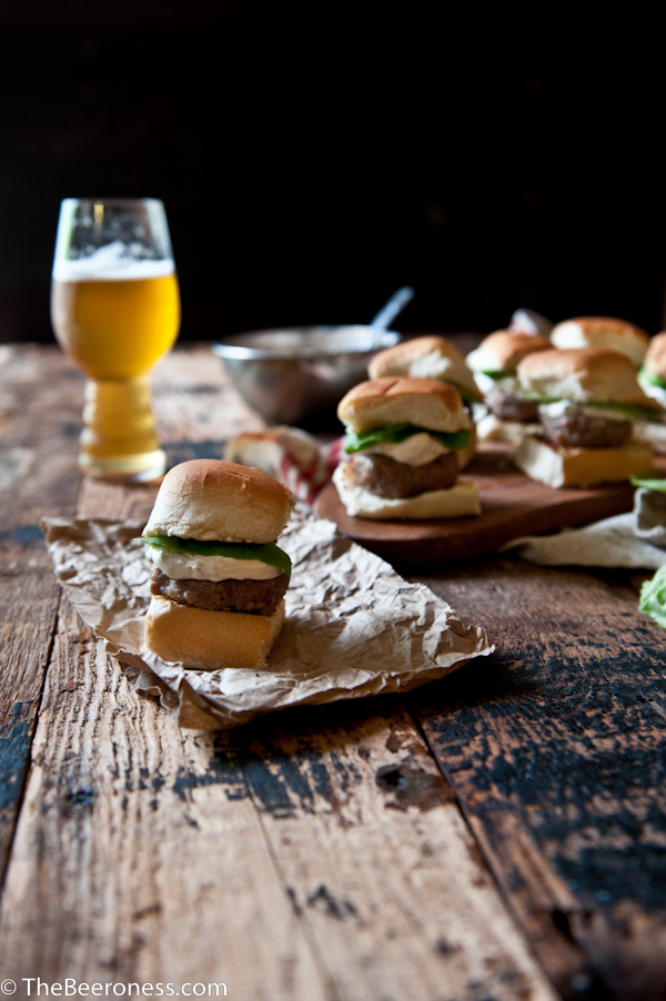 Sausage Sliders with IPA Sriracha Sour Cream
