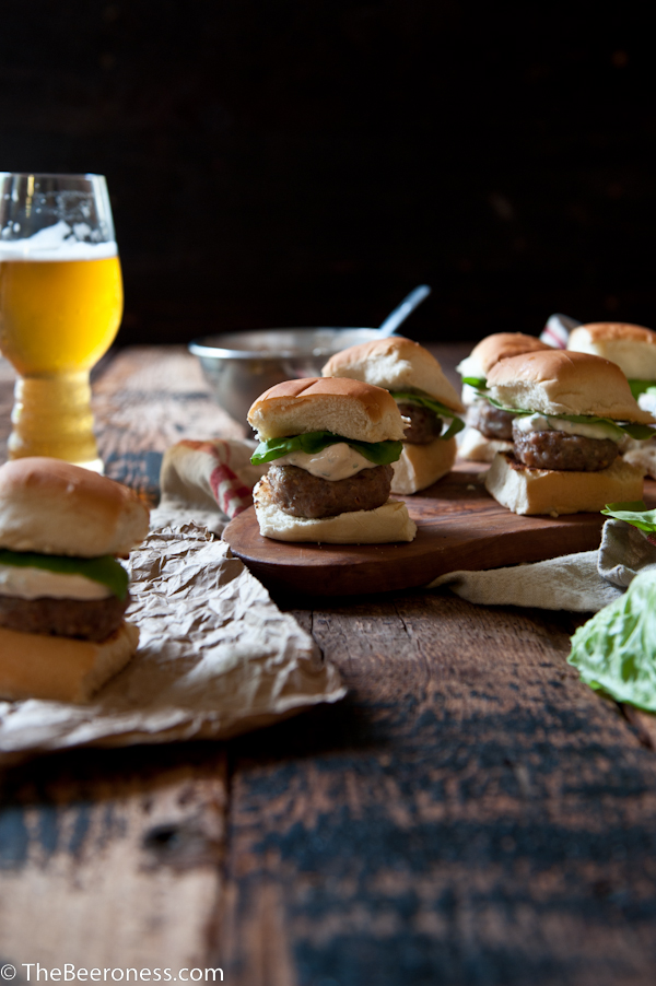 Sausage Sliders with IPA Sriracha Sour Cream_