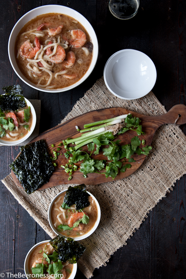 Spicy Miso Stout Udon Noodle Soup