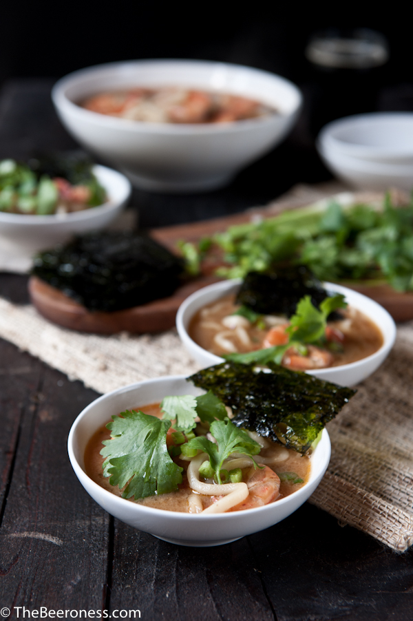 Spicy Miso Stout Udon Noodle Soup_