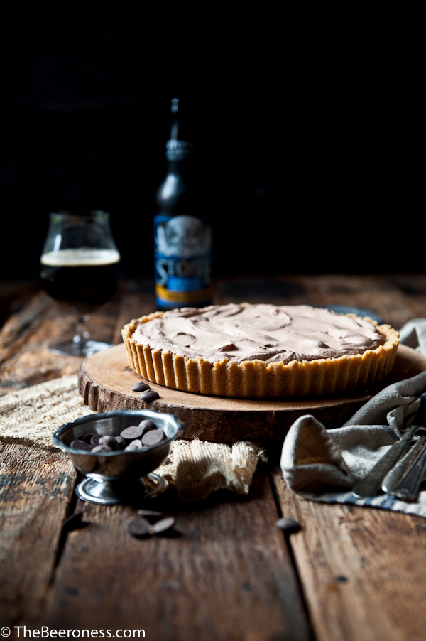 Chocolate Porter Mousse Tart with Potato Chip Crust. POTATO CHIP CRUST!! #chocolate #beer #recipe