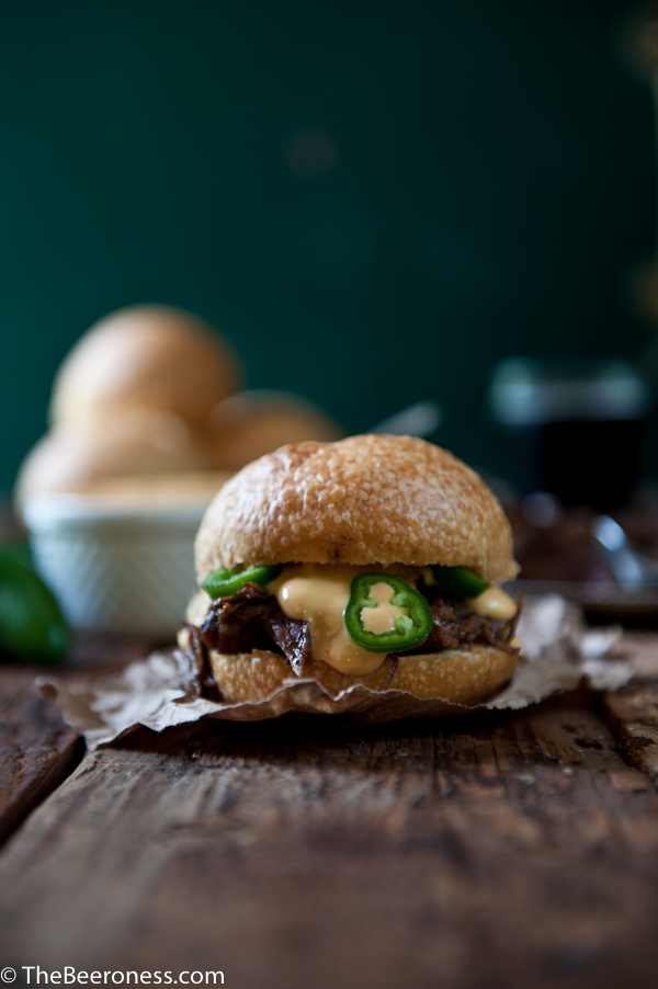 Porter Braised Beef Short Ribs Sandwiches With Jalapeño Beer Cheese Sauce 2