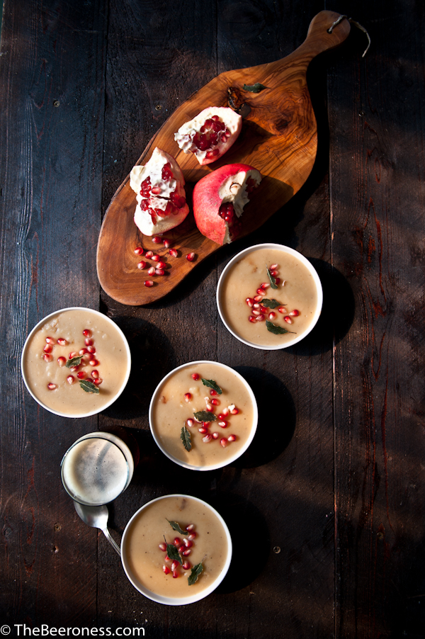 Sweet Potato and Brown Ale Soup with Crispy Sage and Pomegranates # ...