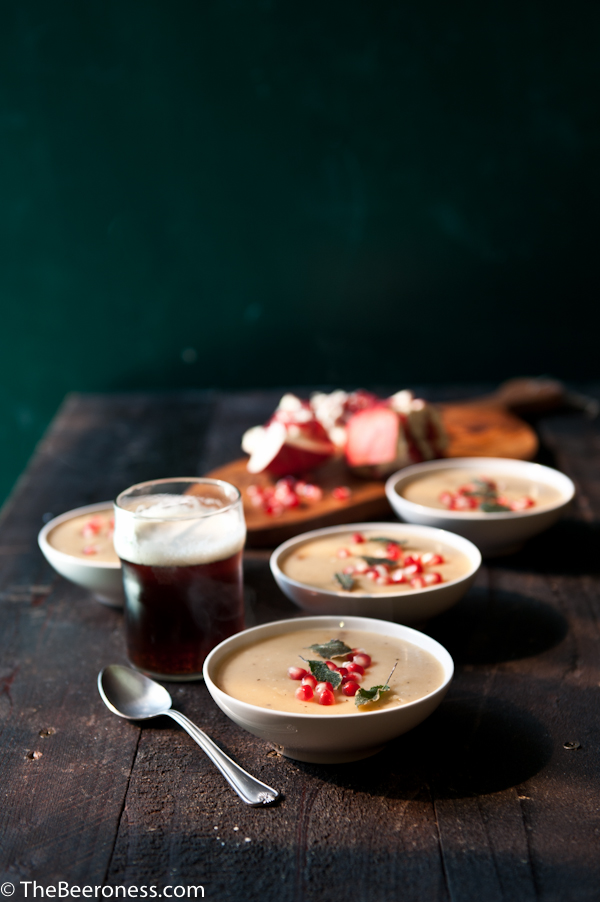 Sweet Potato and Brown Ale Soup with Crispy Sage and Pomegranates  #soup #recipe #beer #sweetpotato #pomegranate #fall
