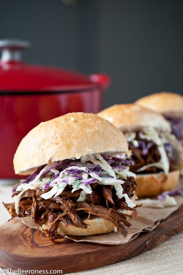 Beer Braised Pulled Pork Sandwiches with IPA Jalapeno Slaw 2