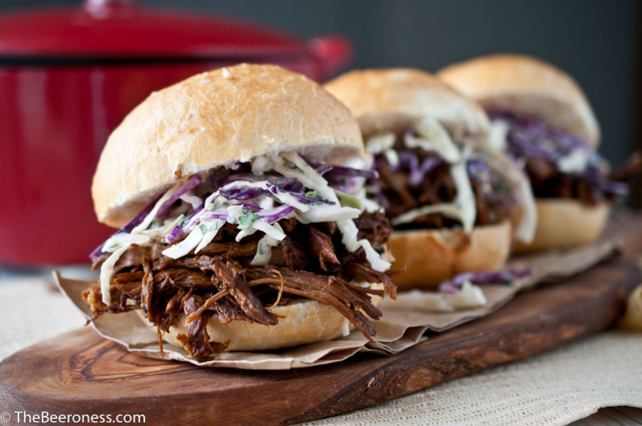 Beer Braised Pulled Pork Sandwiches with IPA Jalapeno Slaw_