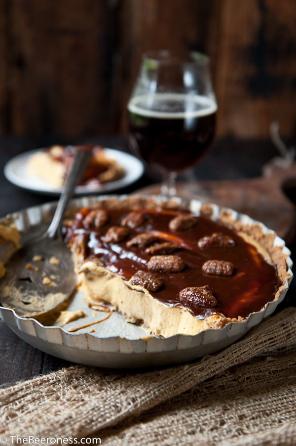 No Bake Cream Cheese Caramel Pumpkin Ale Pie