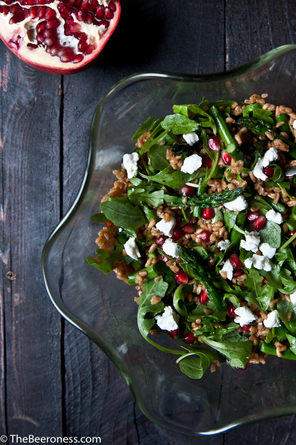 Pumpkin Ale Farro Roasted Asparagus Pomegranate and Goat Cheese Salad