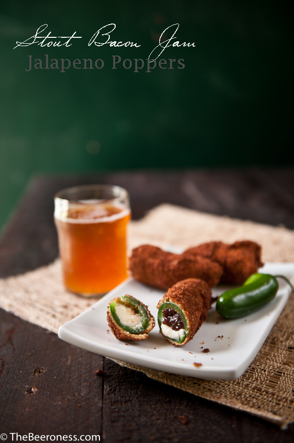 Stout Bacon Jam Jalapeno Poppers. Because the only thing that can make Jalapeno Poppers better is bacon. And beer.
