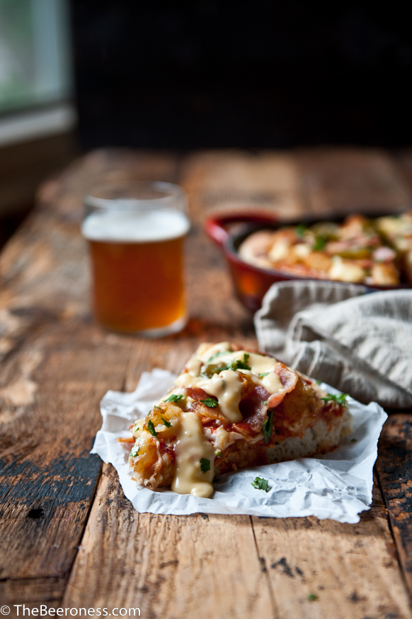 Trashed Up Beer Cheese Tater Tot Pizza.  Worth every. single. calorie. SO good.
