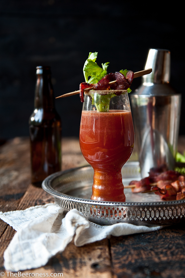 Sriracha Bloody Beer with Chili Sugar Bacon