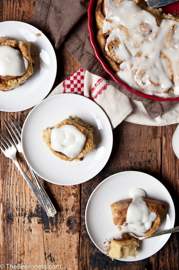 Twenty Minute Cinnamon Roll Beer Biscuits, plus the secret to the perfect cinnamon roll filling that doesn't leak out the side once cut.