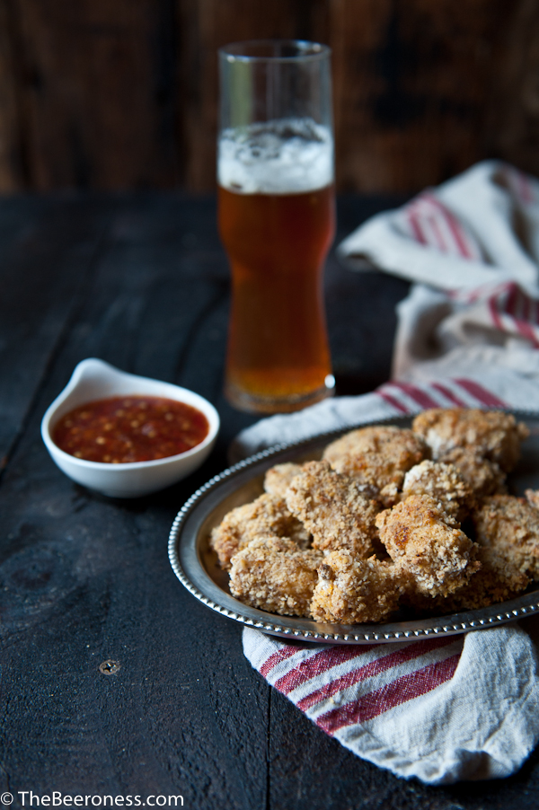 Baked Buttermilk Beer Popcorn Chicken with Honey Beer Dipping Sauce
