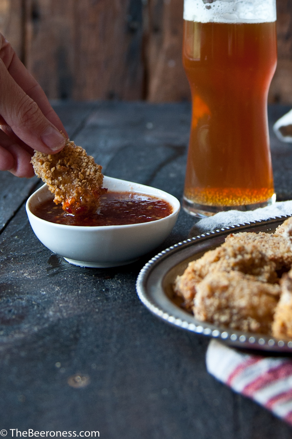 Baked Buttermilk Beer Popcorn Chicken with Honey Beer Dipping Sauce-2