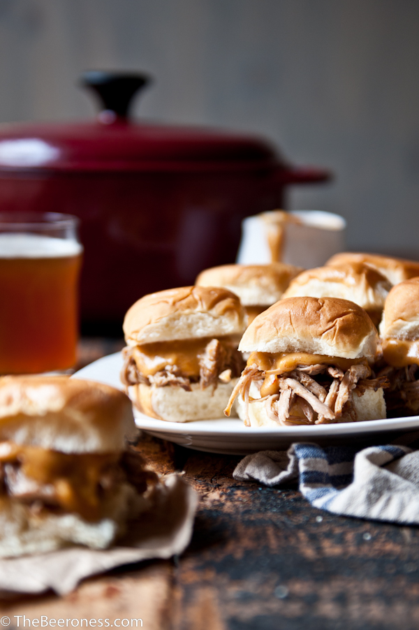Beer Braised Pulled Pork Sliders with Chipotle Beer Cheese Sauce