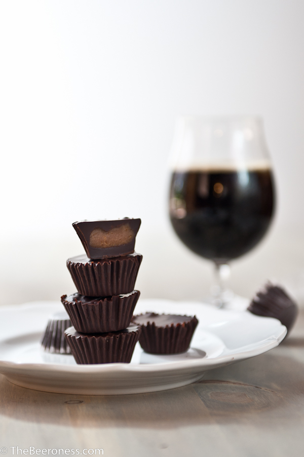 Chocolate Stout Peanut Butter Cups. Three Ingredients, crazy good.