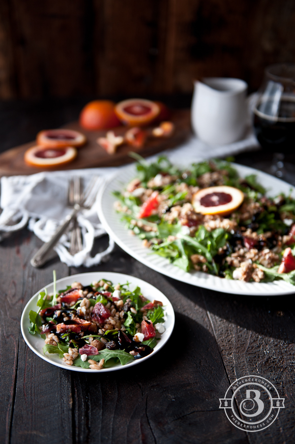 Drunken Winter Faro Blood Orange Salad with Stout Balsamic Glaze -5