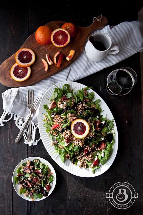 Drunken Winter Farro Blood Orange Salad with Stout Balsamic Glaze