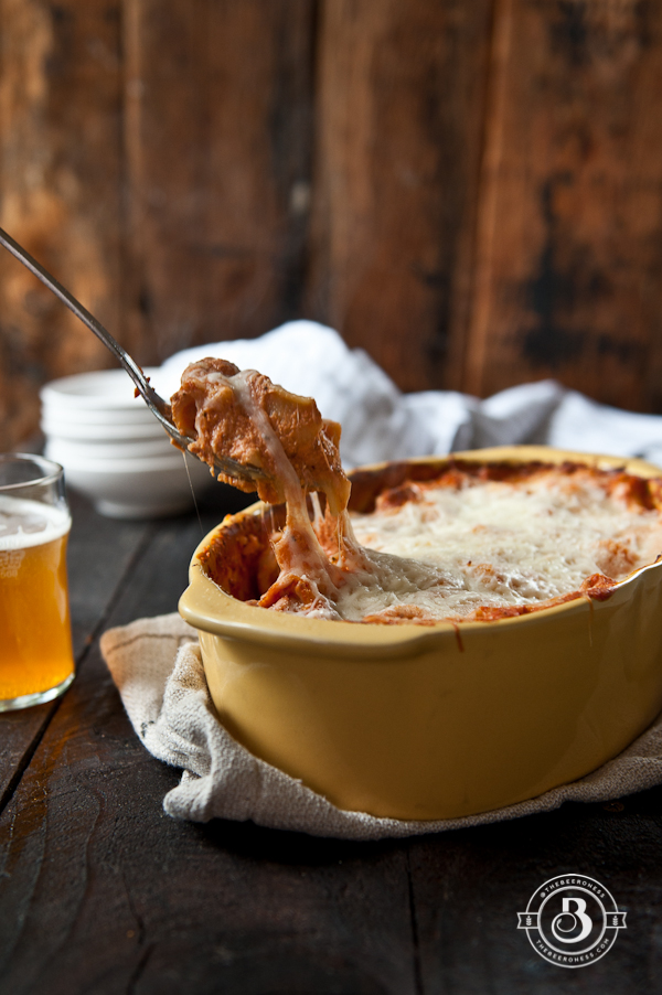 On Pot Baked Rigatoni Pasta in Beer Tomato Cream Sauce. One pot, five minute prep, even the pasta gets cooked in the pan.