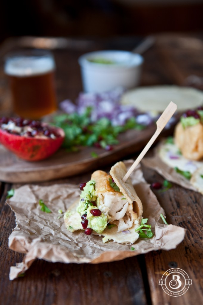Beer Battered Fish Tacos with Pomegranate Guacamole -4