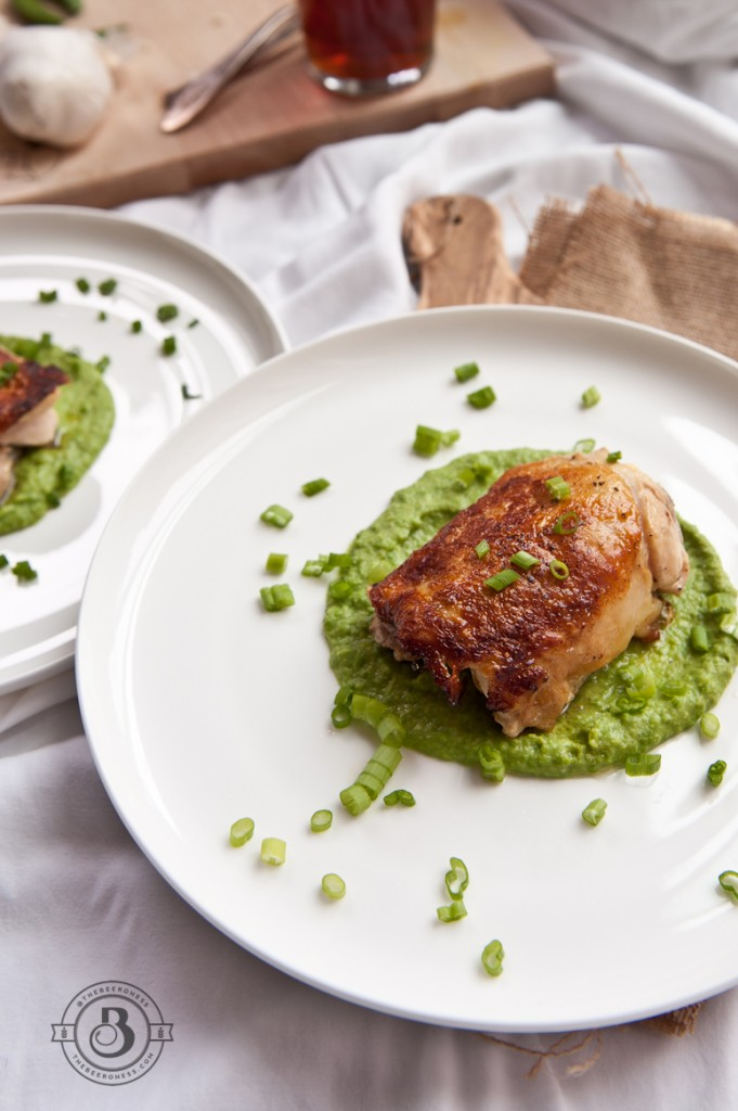 Crispiest Beer Brined Chicken Thighs with Brown Ale Bean and Sweet Pea Puree