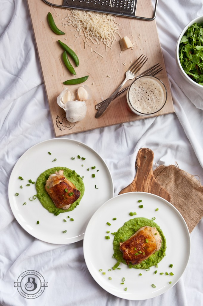 Crispiest Beer Brined Chicken Thighs with Brown Ale Bean and Sweet Pea Puree -4