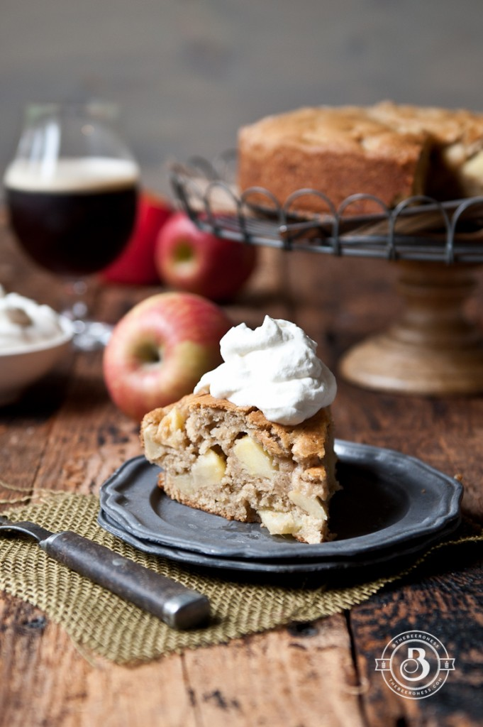 Irish Apple Beer Cake with boozy whipped cream