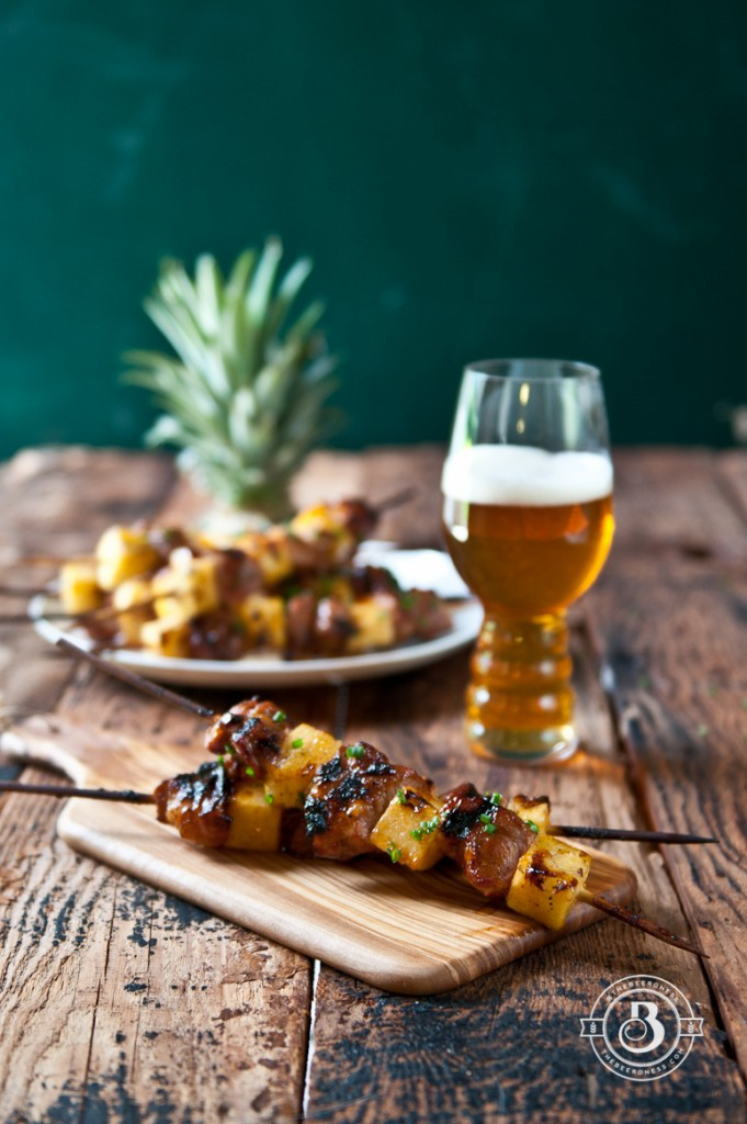 Beer Brined Pork and Pineapple Skewers with Apricot Chili Glaze-3