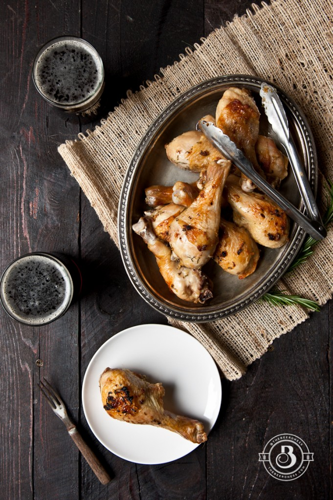 Beer Brined Roasted Rosemary Chicken Legs