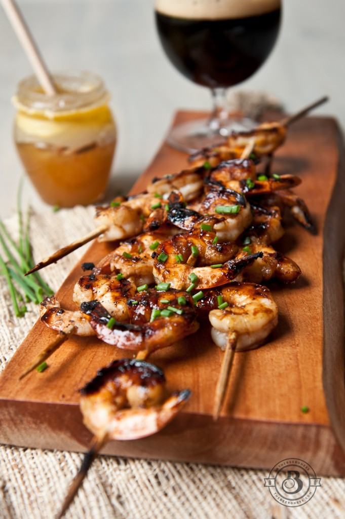 Honey Balsamic Beer Glazed Shrimp Skewers