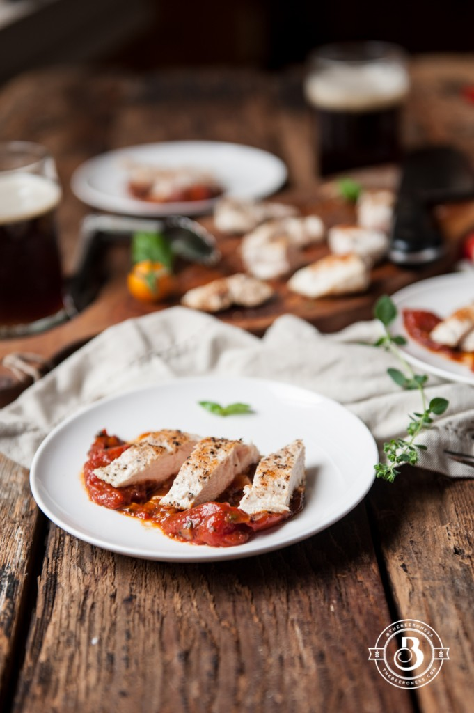 20 minute Chicken in Roasted Tomato Brown Ale Herb Sauce -1