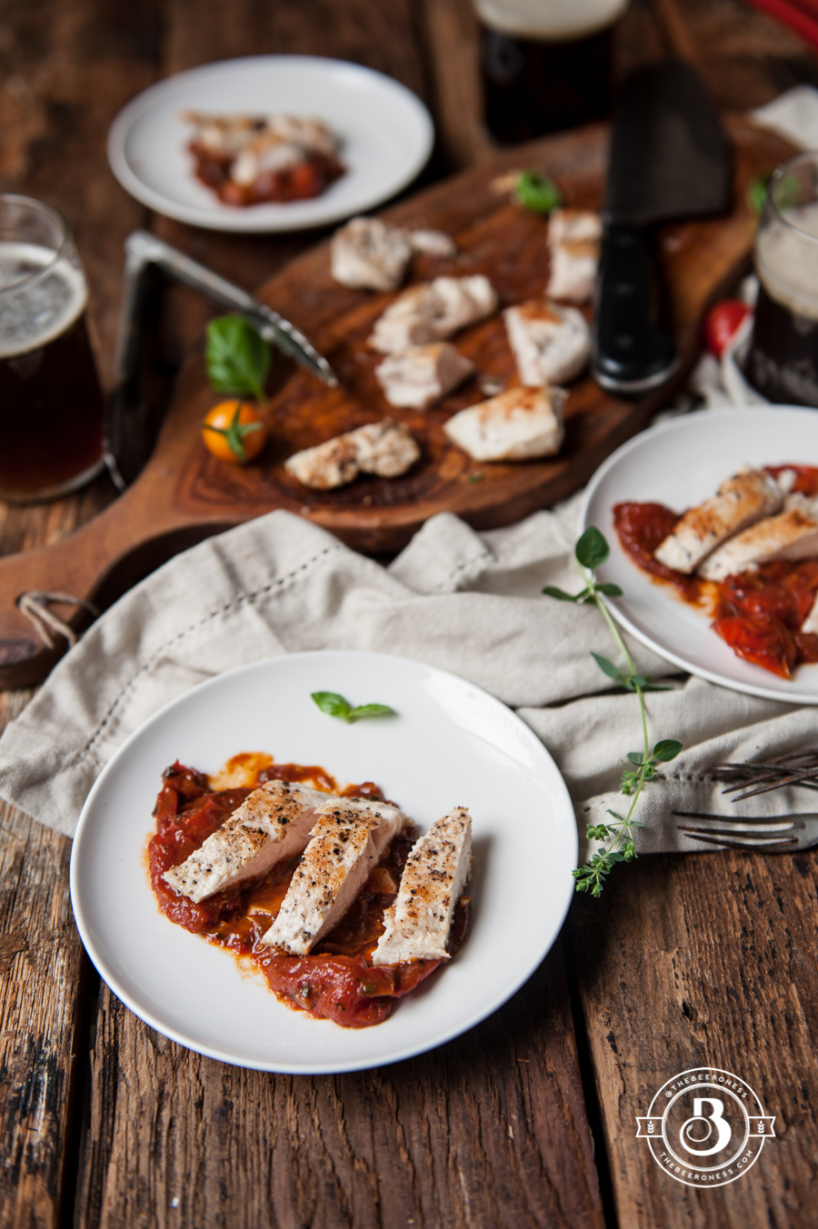 20 minute Chicken in Roasted Tomato Brown Ale Herb Sauce -4