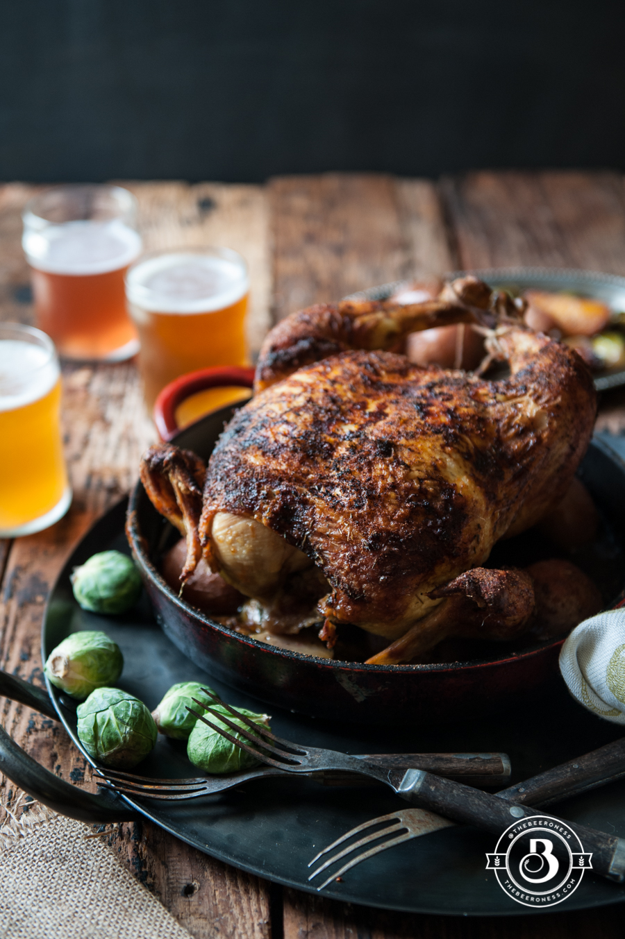 Beer Brined Faux-tisserie Roast Chicken -3
